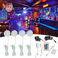 Under RGB Display Lamp Remote Control Kit Showcase Night Led Cupboard Kitchen Recessed Cabinet Light Decoration Ultra Thin Panel