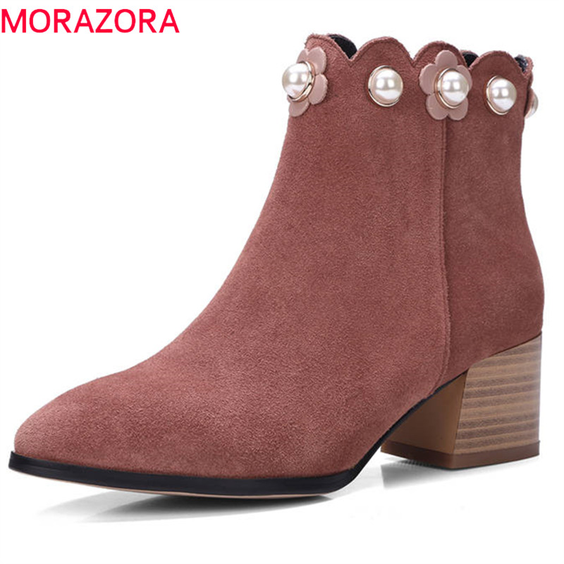 MORAZORA 2018 top quality cow suede leather ladies boots pointed toe autumn winter ankle boots for women party high heels shoes women fashion ankle boots top quality suede autumn slip on pointed toe flats punk suede biker boots ladies shoes wholesales