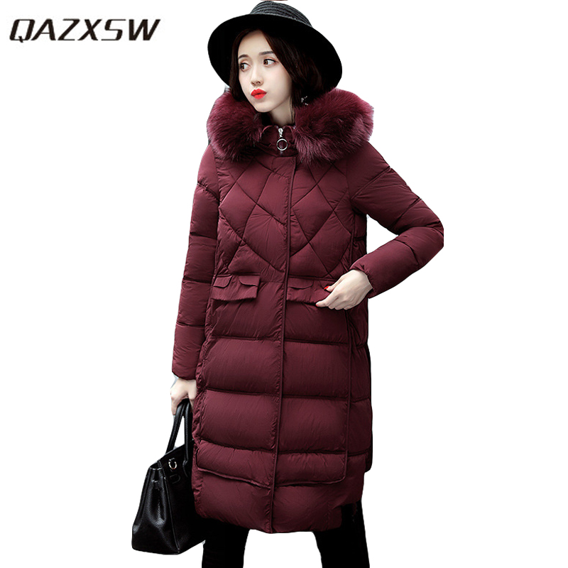 QAZXSW 2017 Woman Winter Coats Hooded Jacket Thick Long Parkas For Girl Outwear Jacket Woman Cotton Coats Jaqueta Feminina HB229 qazxsw 2017 new winter cotton coat women padded jacket hooded long parkas for girl thick warm winter coat jaqueta feminina hb274