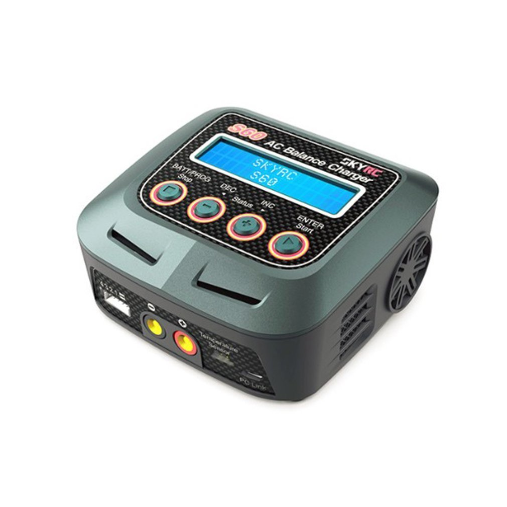 SKYRC S60 60W 100-240V AC Balance Charger/Discharger for 2-4S Lithium LiPo LiHV LiFe Lilon NiCd NiMh PB RC Drone Car Battery skyrc b6 nano lipo battery charger discharger 15a 320w dc 9 32v mini charge for life lilon lipo lihv nimh nicd pb battery