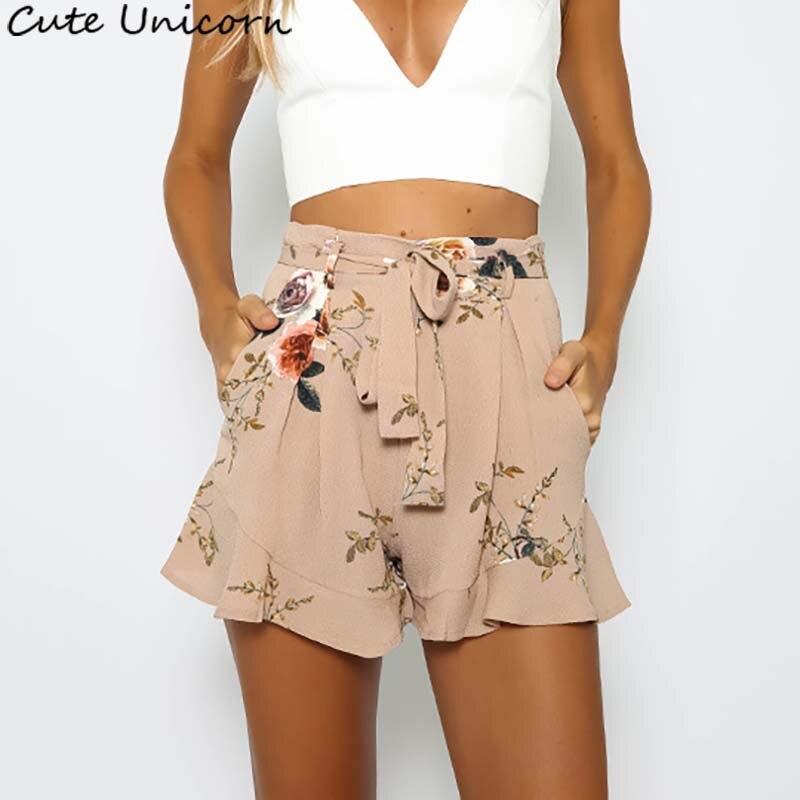 Hot Fashion Women Lady Sexy floral print Shorts Summer Casual Shorts High Waist Short Beach Bow Shorts Trousers