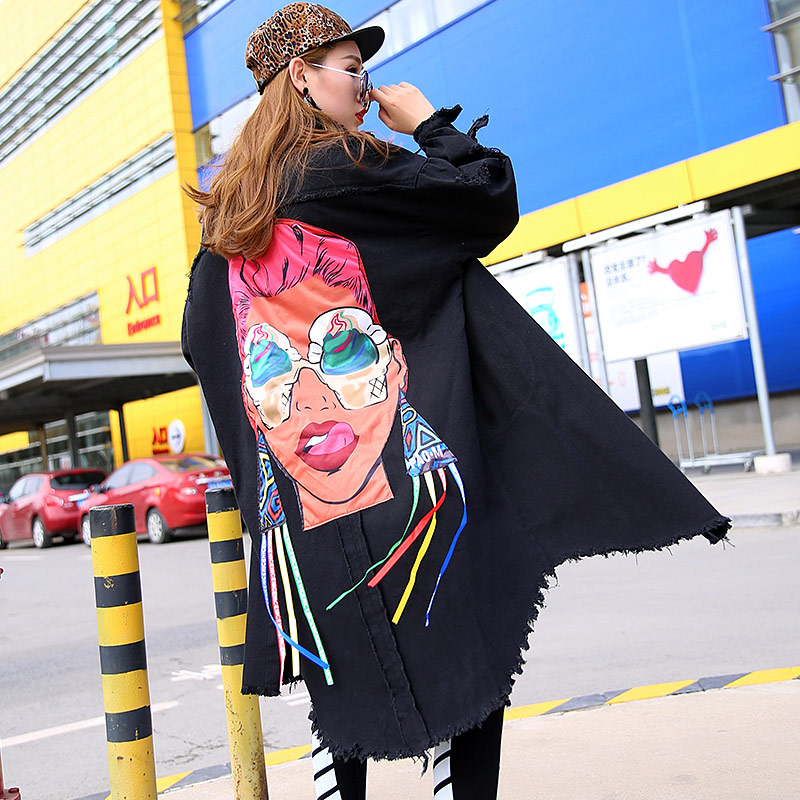 2019 Spring Fashion Denim Cartoon Girl Trench Women Harakuju Style Hole Jean Casual Loose Autumn Trench
