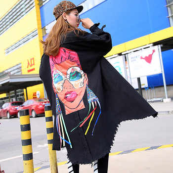 2019 Spring Fashion Denim Cartoon Girl Trench Women Harakuju Style Hole Jean Casual Loose Autumn Trench Coat Oversize - DISCOUNT ITEM  25% OFF All Category