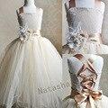 Com broche de penas menina festa de casamento batizado pageant vestido baby ball vestidos de dama de honra infantil roupas ncjz-7