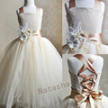 With feather brooch Girl Christening Wedding Party Pageant Dress Baby ball Gowns Child Bridesmaid Clothing  NCJZ-7