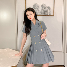 цены Large Size Women Double Button Mini Blazer Dress Gray OL Office Work Pleated Dress Women Solid Causal A-line Summer Dress 2019