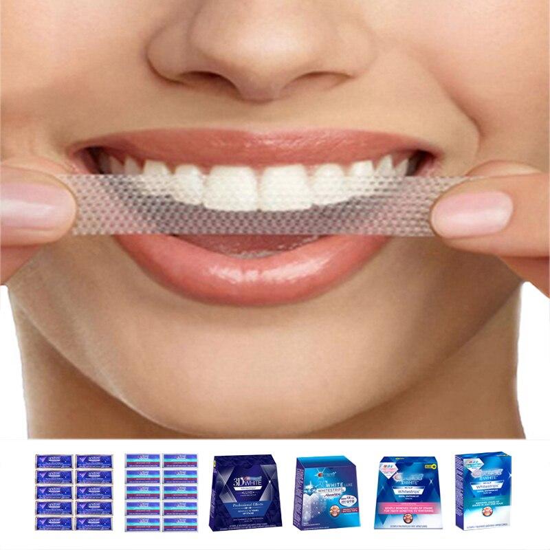 3D blanco Whitestrips Luxe efectos profesionales higiene Oral dientes originales tiras de blanqueamiento Dental blanquear 1 hora avanzada vivo