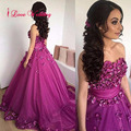 Handmade Purple Ball Gown Prom Dresses 2017 Sweetheart Off the Shoulder Tulle with Flowers Bandage Party Dress Long Vestidos