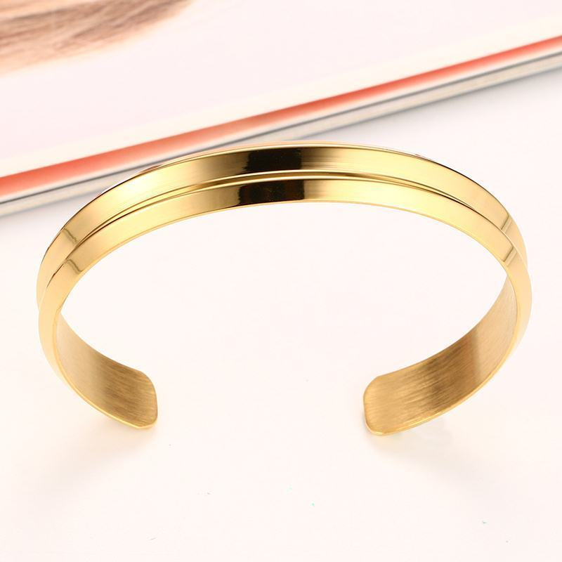 a6437989eb321 US $5.94 40% OFF| Women Groove Cuff Bangle Stainless Steel C Open Bracelet  in Gold Silver Tone Blank Bracelets Jewelry width:10mm-in Bangles from ...