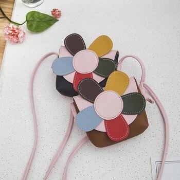 2019 New Childrens Floral Coin Purse Lovely Colorful Five Petals Flower Handbag PU Leather Girls Princess Mini Messenger Bag