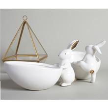 Белый кролик лоток для хранения кролик тарелка керамическая Фруктовая тарелка для закуски десертная тарелка украшение ювелирный лоток коробка мультяшный фарфор