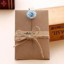 10 Pieces/ Lot Creative Retro DIY Kraft Paper Flower Valentine's Day Blessing Birthday Cards Greeting with Envelope недорого