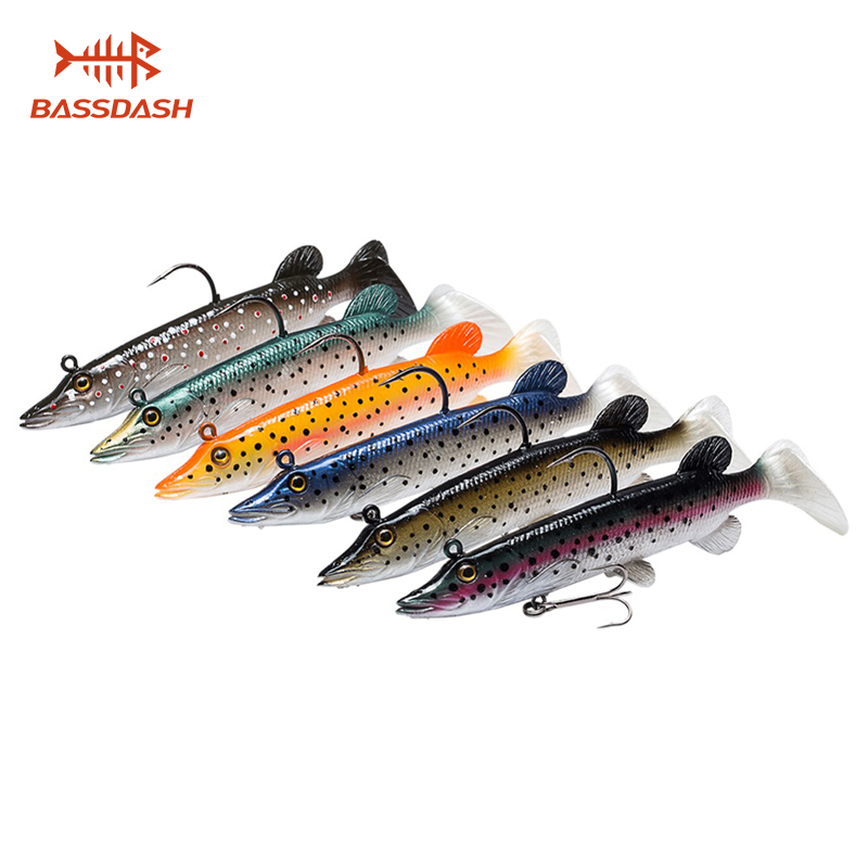Bassdash Soft Swimbait Bass Saltwater Fishing Lures Bait Crank Lead Fish Hooks 6-Pack Built-in Lead Weight 4in 5in