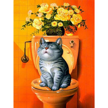 New DIY Diamond Embroidery Cat  Painting Sitting On The Toilet Mosaic With Home Decoration