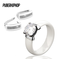 New Anniversary Rings For Women Silver Color Party Rings White Ceramic Mystic Crystal Zircon Bling Jewelry