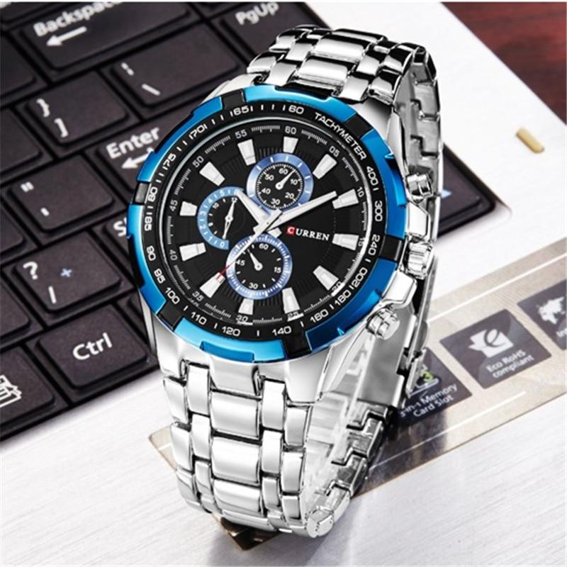 CURREN zegarki mężczyźni Top marka luksusowa moda i Casual zegarki kwarcowe męskie klasyczne analogowe sportowe pasek stalowy zegar Relojes 5