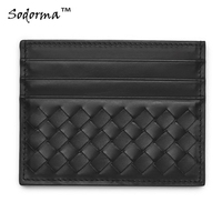 Hand Made Multiple Colors Genuine Leather Braided Pattern Sheep Skin Credit Card Holder 6 Card Slots