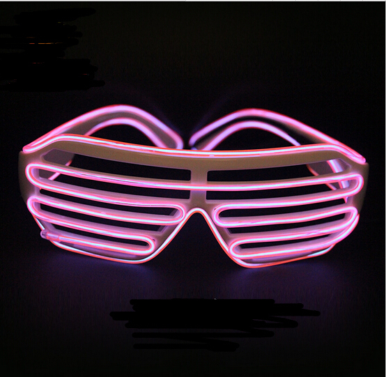 Pink Quick Flashing EL Luminous LED Shutter Glasses Light Up Shades Flashing Rave for Wedding Party/Dance DJ/Party Mask YH135