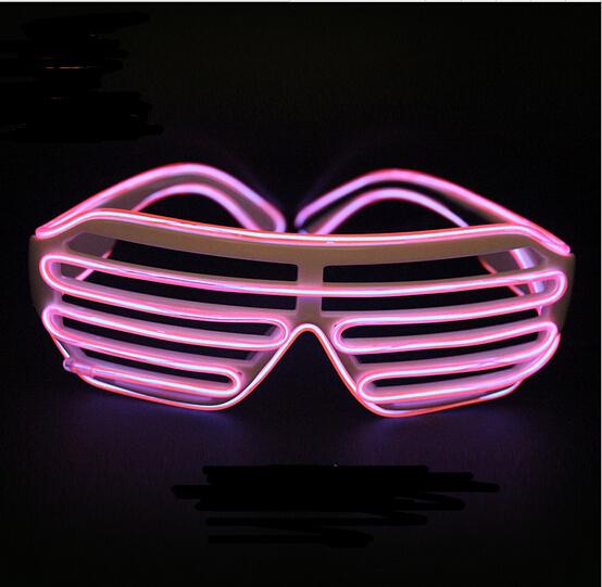 Rosa Parpadeo Rápido EL Luminoso LED Parpadeante Rave Light Up Shades Gafas de Obturación para el Banquete de Boda/Dance DJ/Máscara del partido YH135
