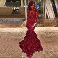 Сексуальный с низким вырезом на спине русалка пром платья бордовый цветок минимальный уровень длина обычный заказ платье ну вечеринку вечерние платья Vestidos феста