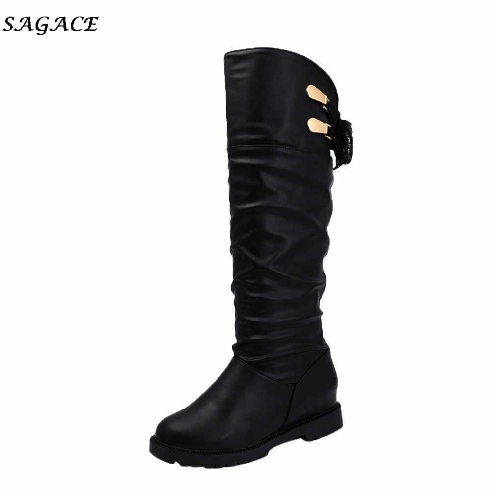 CAGACE אתחול קרסול נשים נוח רך עור סתיו החורף ארוך מגפי נעלי 2018 למעלה אופנה נעלי נשים
