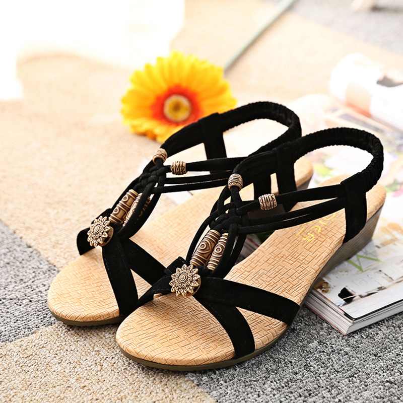 Ou Mo brand Summer Bohemian Women Sandals Beach Shoes Elastic Casual Female Beaded Open Toe Roman Low Flat Shoes sandalias in Low Heels from Shoes