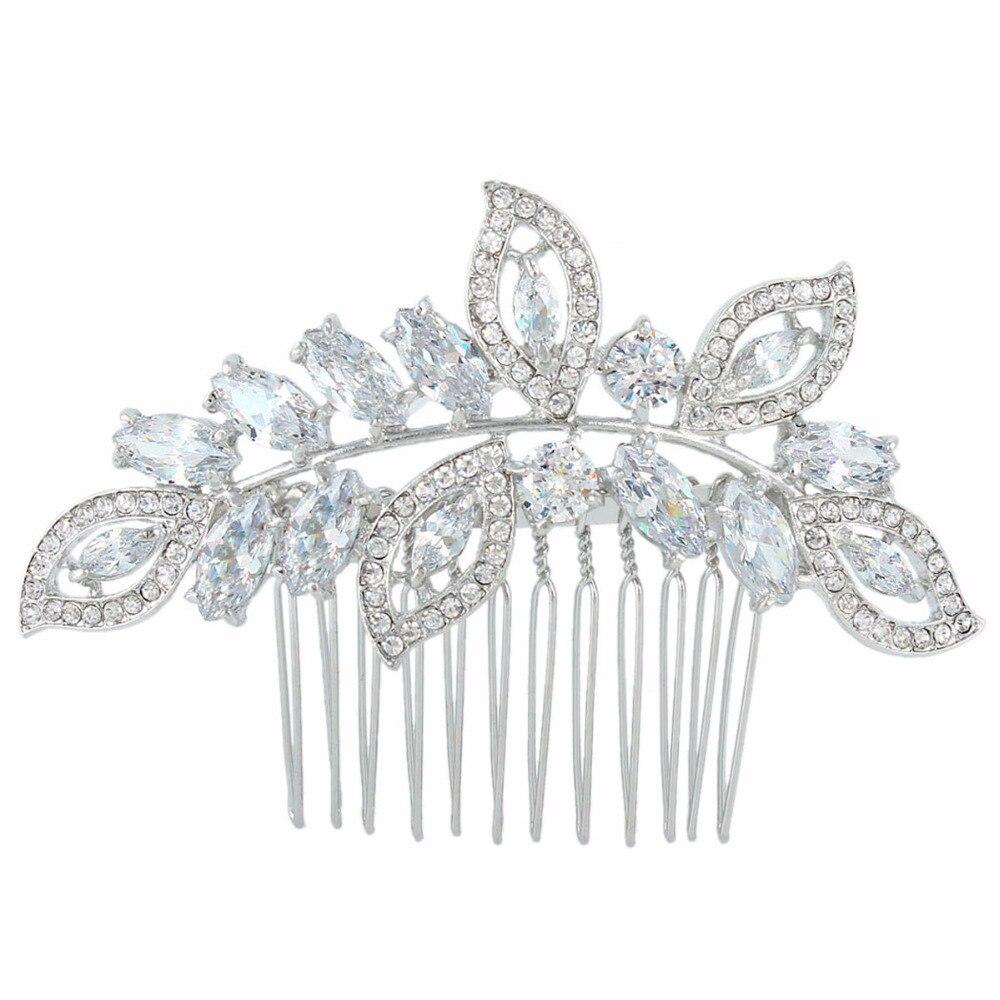 BELLA Fashion Leaf Wedding Hair Jewelry Accessories For Brides Luxury CZ Zircon Bridal Hair Comb For