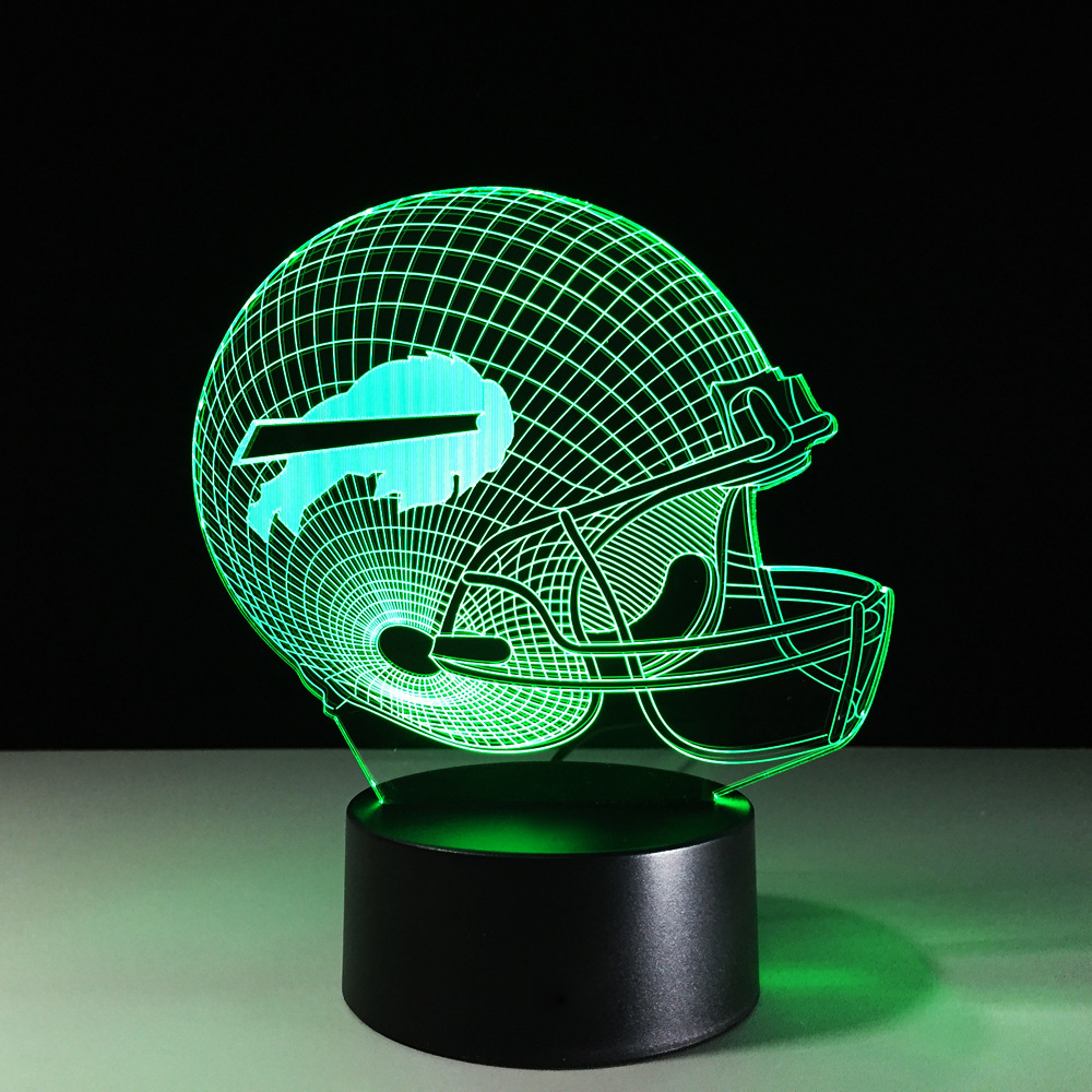 7 Color Changing Sports Rugby Cap 3D Night Light Football Helmet Desk Table Lamp Acrylic Bedroom Light For Kids Fans Gifts Decor