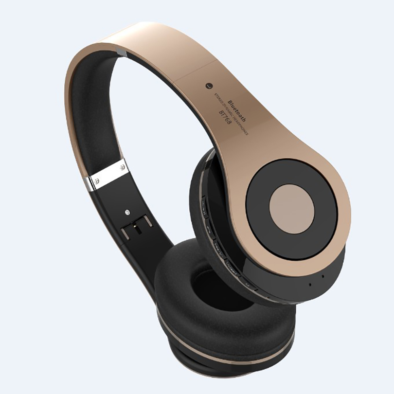 Aibesser best wireless bluetooth headphones TF card slot foldable stereo 1080P HiFi bluetooth earphone headphones for running