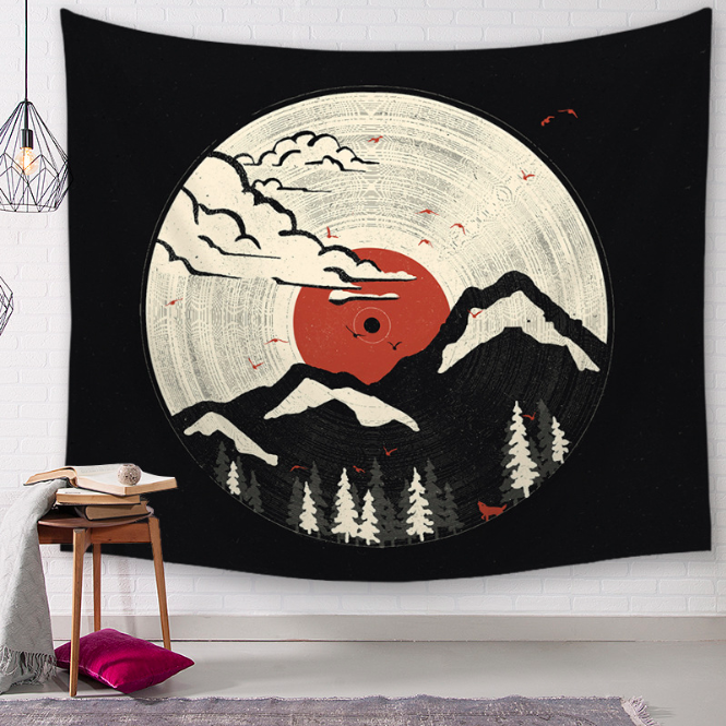 Japanese Ukiyo-e Mountain Decorative Tapestries Bathroom Outdoor Tapestry Wall Hanging Sheet Picnic Cloth Home Decor Tablecloth