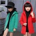 New Outono Inverno Crianças Meninas Jaqueta Casaco Com Capuz Meninas Grossas Casaco Crianças Outerwear Jaqueta de Lã Crianças Meninas Adolescentes 3-15 Anos de Idade