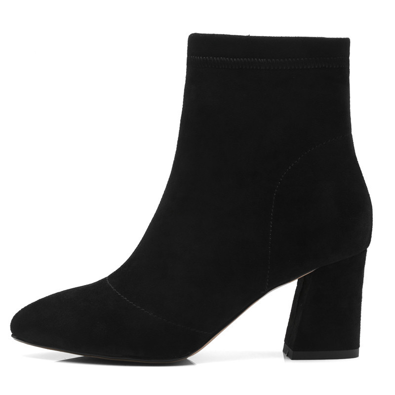 cal Cr1403 Mujer Mujeres Señaló Bolso Enmayer 43 34 gray Tacones Med Cremallera Dedo Gruesos Chico Botas Zapatos Black Moda Tobillo Causal De Las Tamaño xRgzqfg