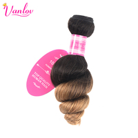 Vanlov 2 Tone Ombre Human Hair Weave Brazilian Loose Wave Bundles Blonde Non Remy Hair Extension