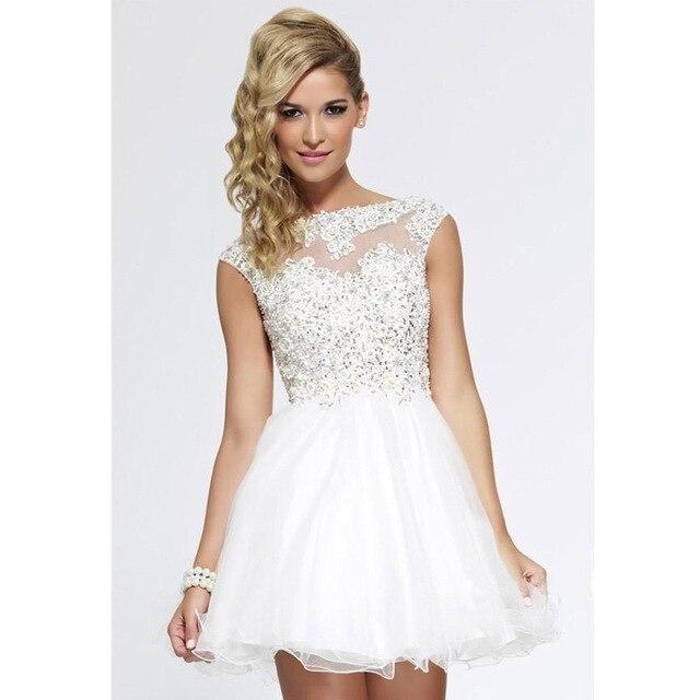 3ef6098495 2016 Blanco Corto de Fiesta Vestidos de Abalorios octavo Grado vestidos de  Graduación Dress Girls Mini