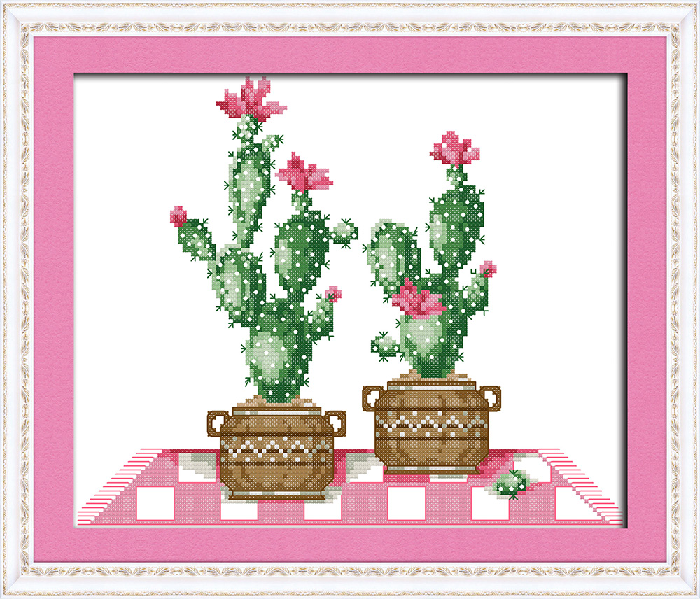 Cactus Pot Plant Diy Decor Painting Counted Printed On Canvas Needlework Embroidery Sets DMC 11CT 14CT Cross Stitch Kits Chinese In Package From Home