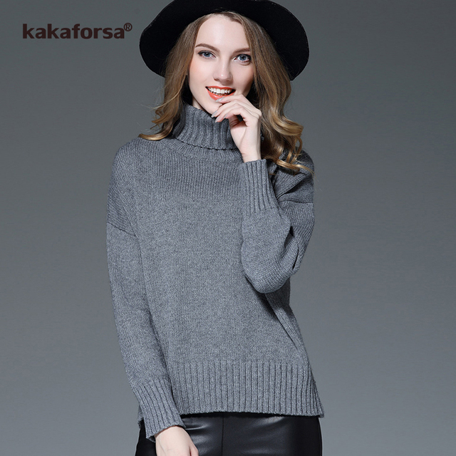 Aliexpress.com : Buy Kakaforsa Women Knitted White Turtleneck ...