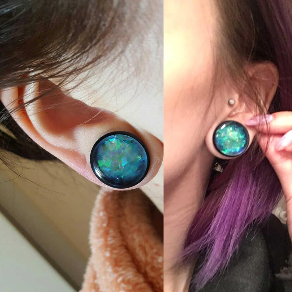 PAIR Đen Acrylic Độc Đuốc Với O Ring Ear Ổ Cắm Flesh Tunnel Expander Đo Piercing Cáng Giống Như Tinh Thể Đồ Trang Sức Cơ Thể