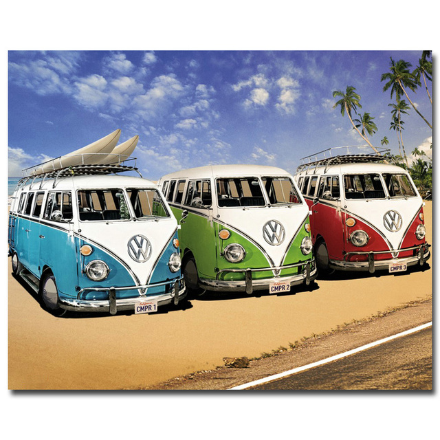 Nicoleshenting Vw Bus Clic Car Art Silk Poster Print 13x18 2x32 Inches Picture Living Room Decor