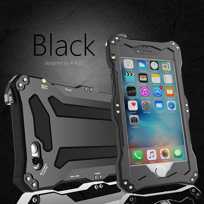 imágenes para R-JUST IP68 Buceo Dirt Choque A Prueba de agua Caso Dropproof Metal De Aluminio Cubierta para el iphone 6 6 s plus Con Touch ID + vidrio Templado