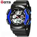 Watch OTS 8003 Big Dial Military Sports Watches fashion For Men PU Watch Strap Waterproof Dual Time Digital-Watch relojes hombre
