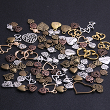 20pcs/lot Vintage Metal 6 color Mixed Hearts Charms Retro love Pendant for Jewelry Making Diy Handmade