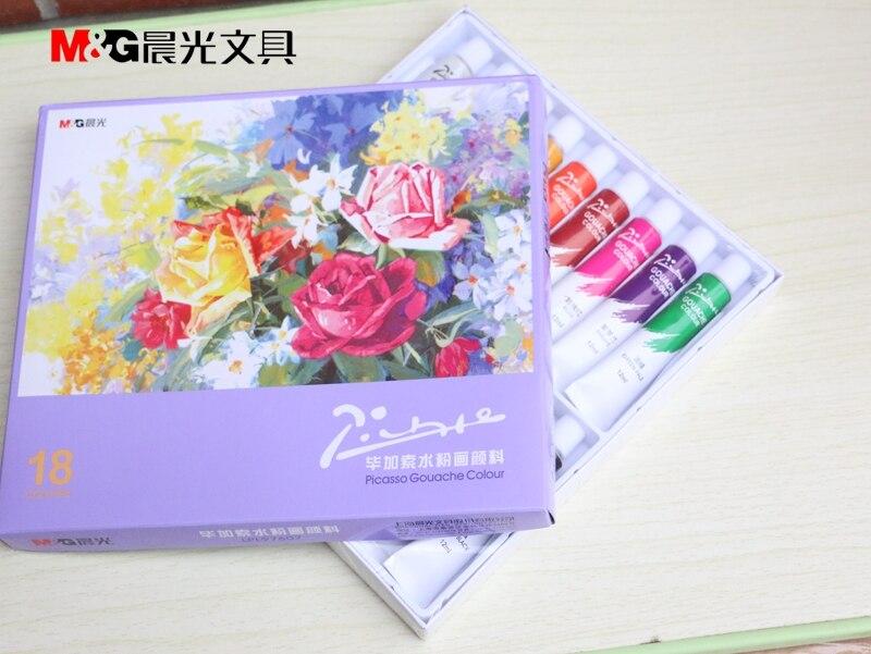 Free shipping <font><b>M</b></font> & G students Dedicated new pigments 24/18/12 <font><b>color</b></font> Picasso gouache paint suit 12ml