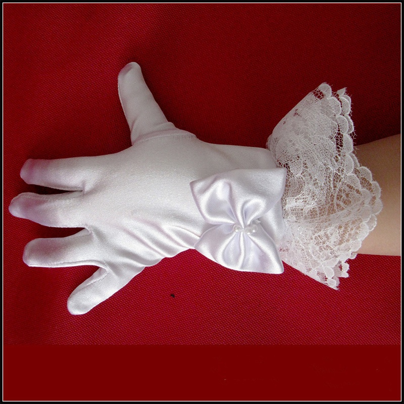 Fashion White Kids Lace Satin Full Finger Short Gloves For Lace Pearl Girl Children Party Dress Gloves