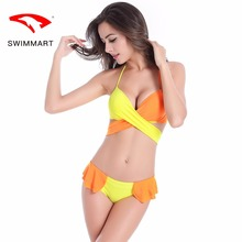 SWIMMARTbikini 2019 color matching cross pants ruffled swimsuit two-piece set of swimwear women push up high waist bikini bikin