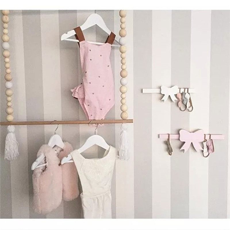 Ins Wooden Kids Clothes Wall Hanger 2 Layer Bedside Clothing Hanging Rack Baby Room Decoration Holder Nordic Style In Hangers Racks From Home