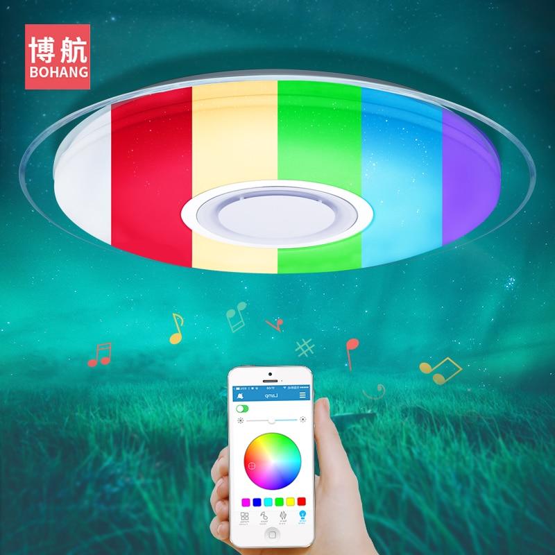 Modernas Luzes de teto LED RGB Pode Ser Escurecido 25 W 36 W 52 W APP controle Remoto Bluetooth Música luz foyer quarto lâmpada do teto