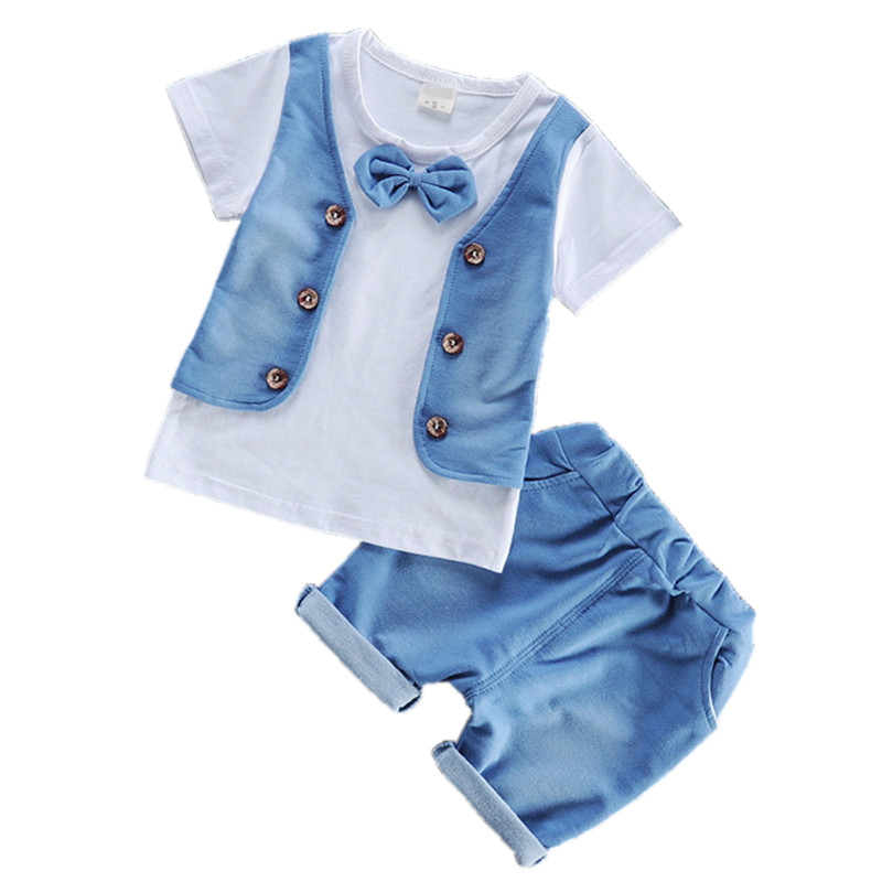 Denim Baby Boys Clothing Summer 2018 New Kids Clothes for Baby Boy Clothes Patchwork Cotton Toddler Suit Set Children's Clothing
