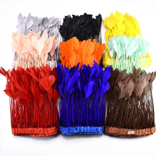 2Meterslot Dyed natural Coque Goose Tail Feathers trim 15-20cm Feather ribbon for DIY Sewing dress clothing decoration plumes
