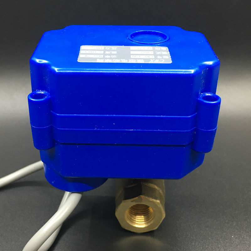 DC12V 2 Wires Control 2 Way Brass 1/4'' Electric Motorized Ball Valve CR01 Wiring DN8 Mini Actuator Valve 1 2 mini electric actuator valve 2 wires cr01 dc12v motorized ball valve ss304 dn15 electric valve for water control