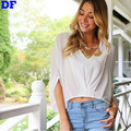 Chiffon Women Blouses Blusas Camisas Roupas Femininas 2016 Direct Sell Women Tops Batwing Sleeve Blouse Shirts Crop Top White L
